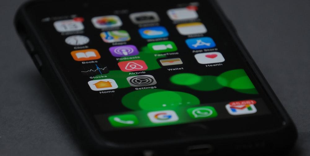 black iphone 4 turned on screen