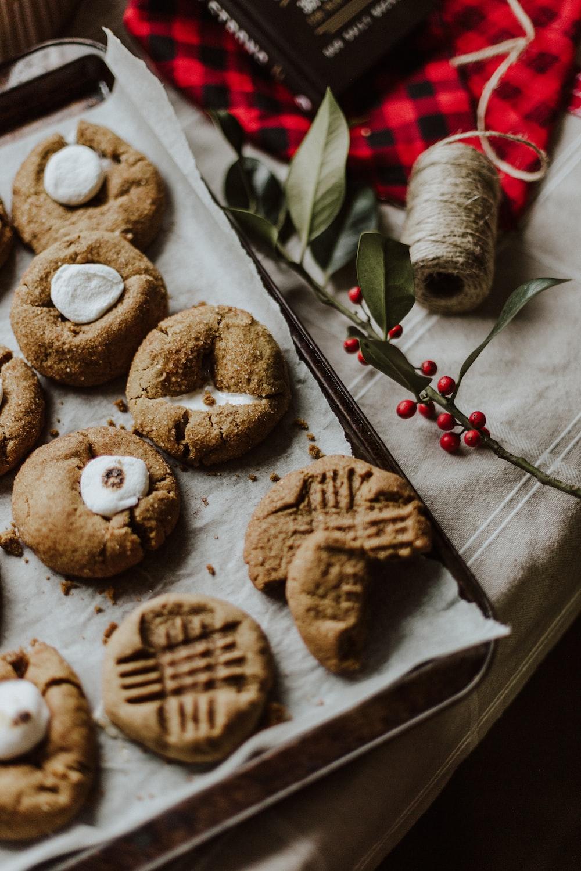 cookies on brown paper bag