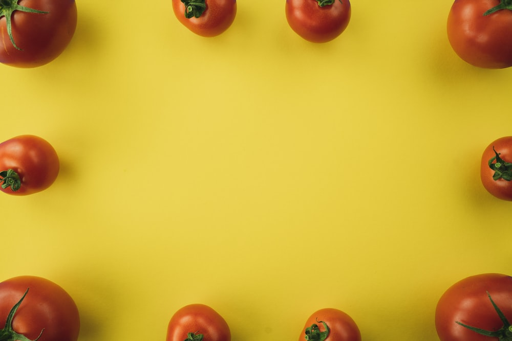 red tomato fruit on yellow background