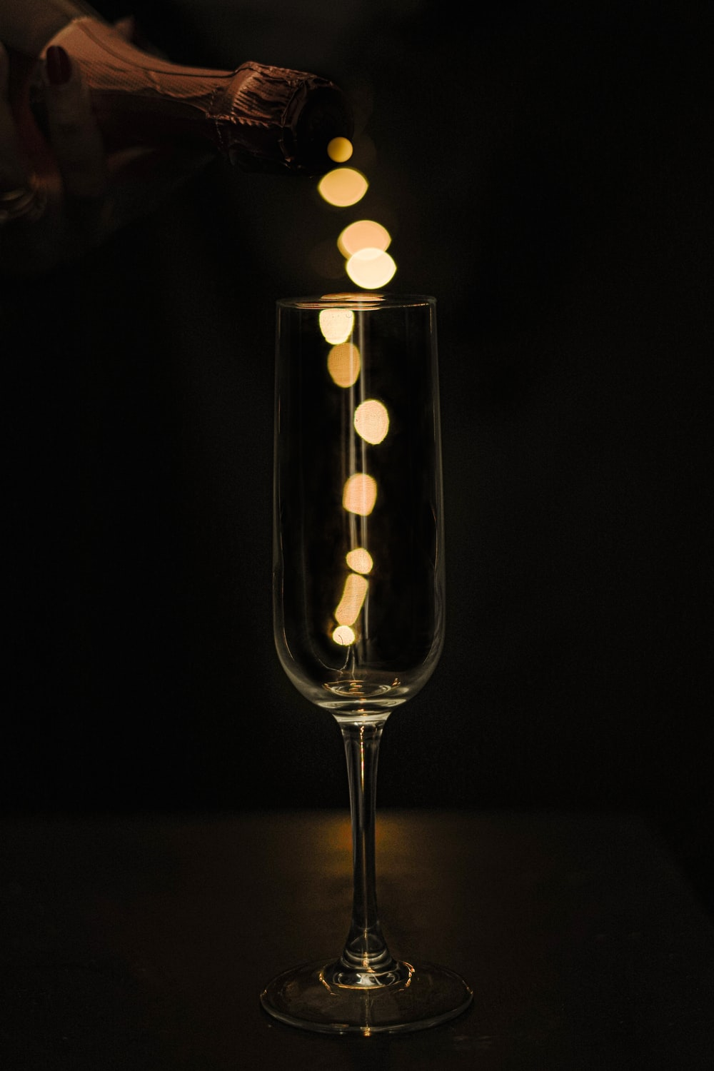 clear wine glass with white light