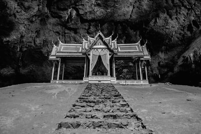 grayscale photo of concrete pathway buddhist temple zoom background