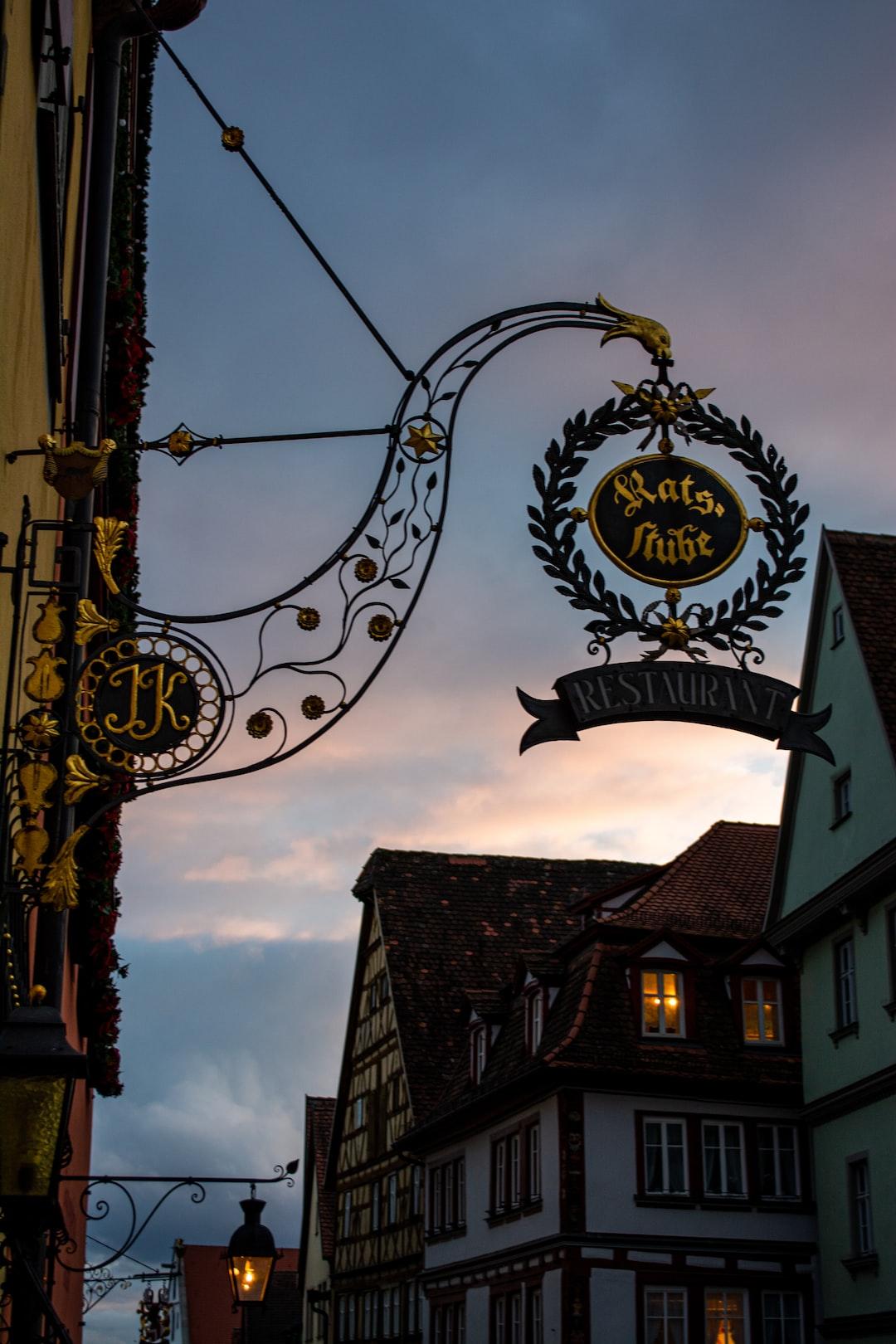 Historic restaurant entrance in Rothenburg ob der Tauber.