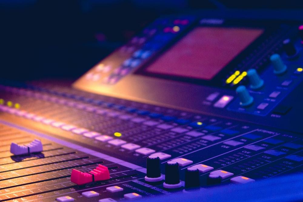 black and purple audio mixer