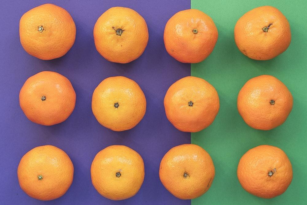 orange fruits on blue background