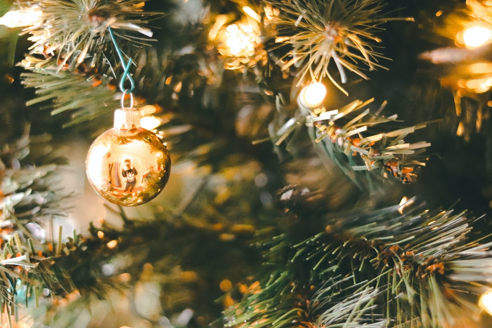 gold baubles on christmas tree
