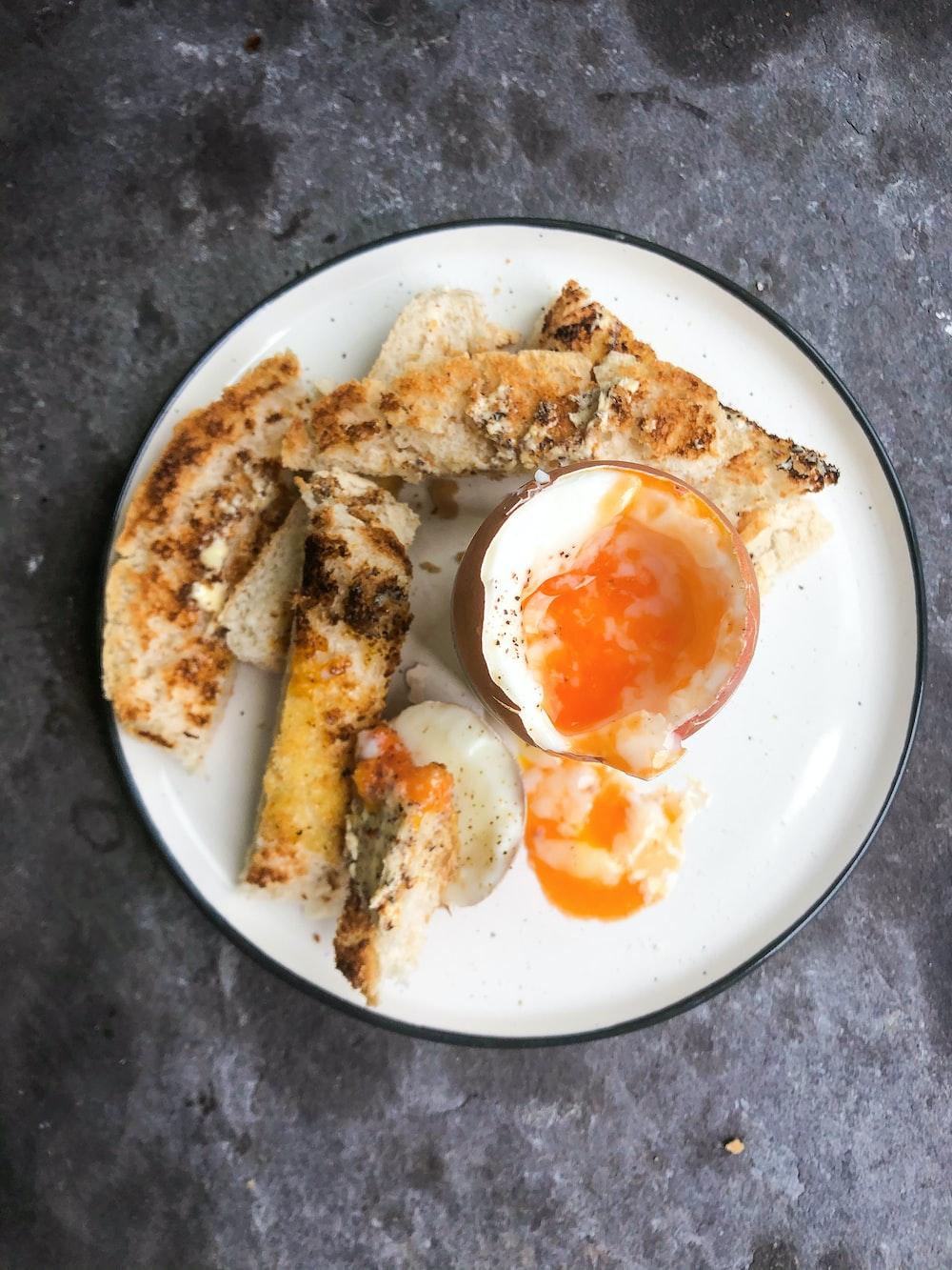 fried egg on white ceramic plate