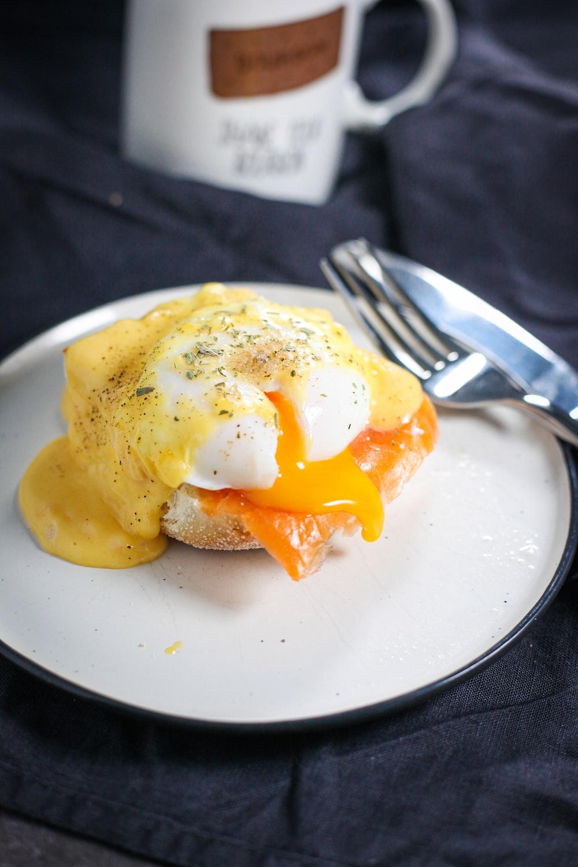 egg omelet on white ceramic plate
