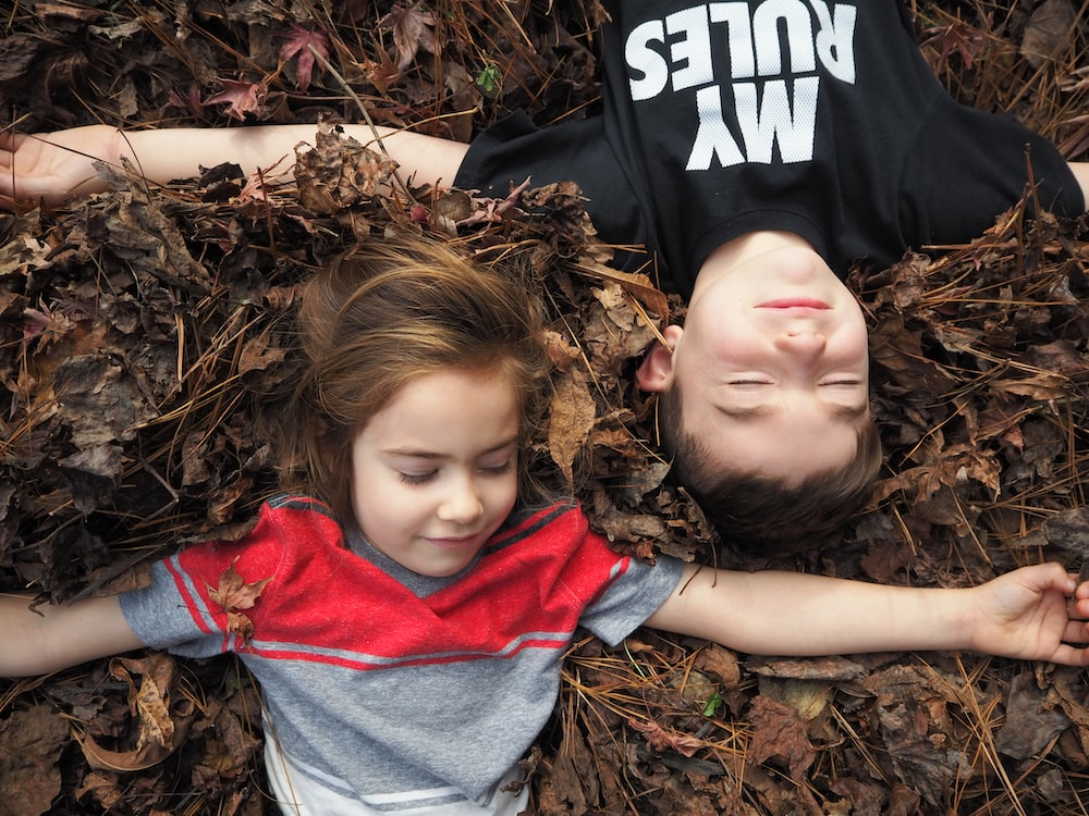 girl in red and gray shirt lying on dried leaves