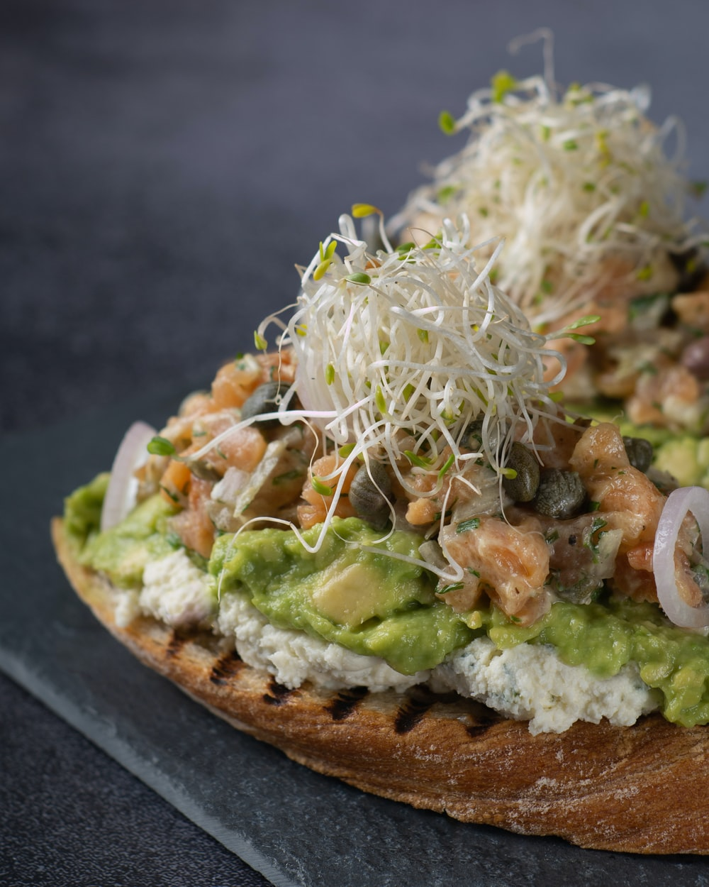 vegetable salad on brown bread