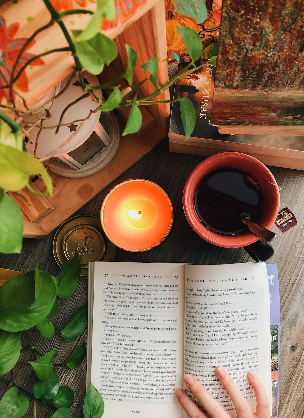 orange ceramic mug on brown wooden table