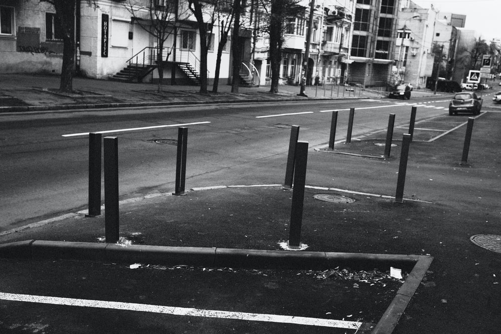grayscale photo of street post