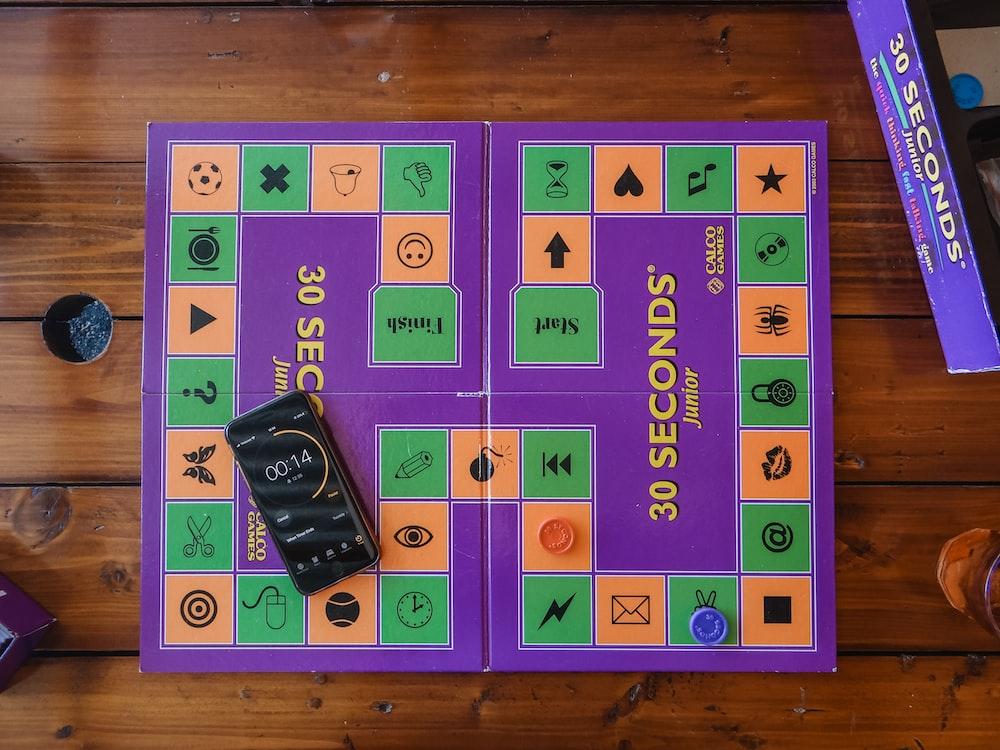 purple and green game board