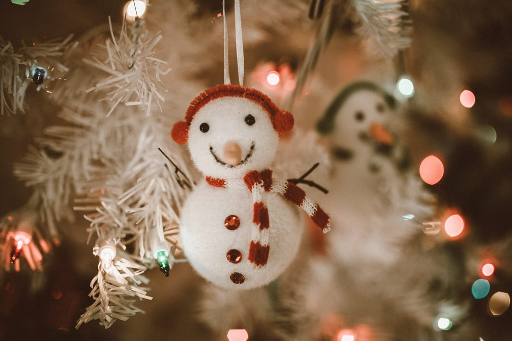white and red snowman ornament