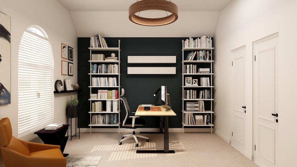 black and white wooden shelf