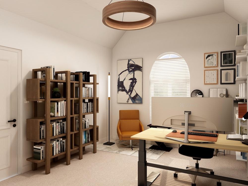 brown wooden book shelf near white table