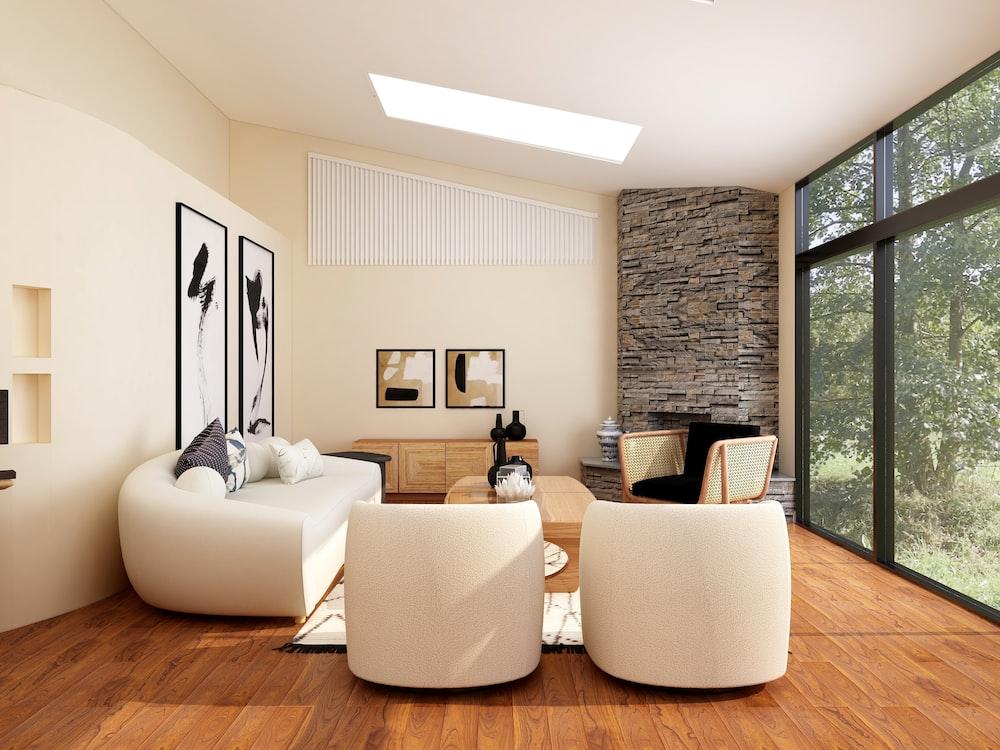 white sofa set on brown wooden parquet floor