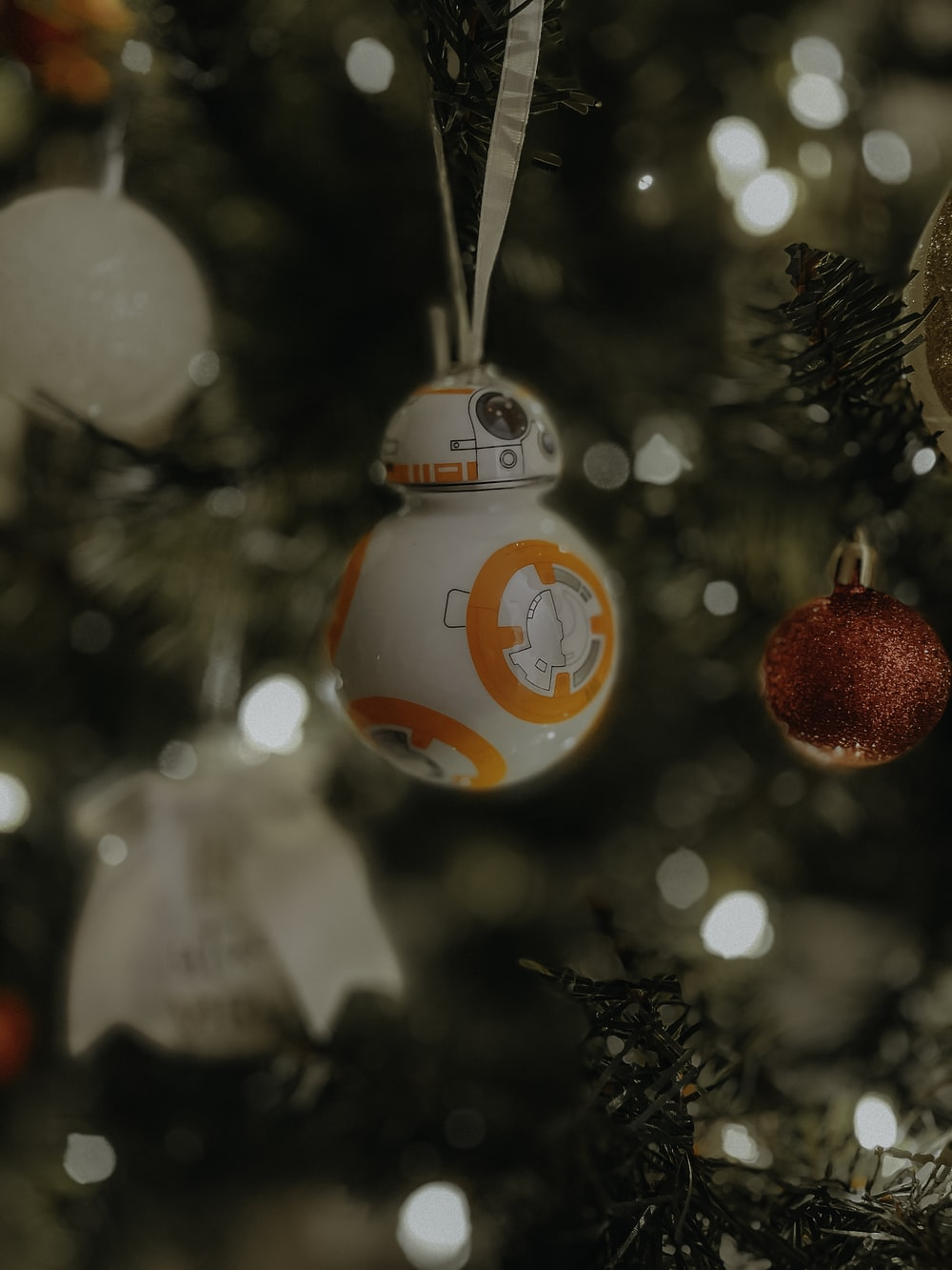 red and white christmas baubles