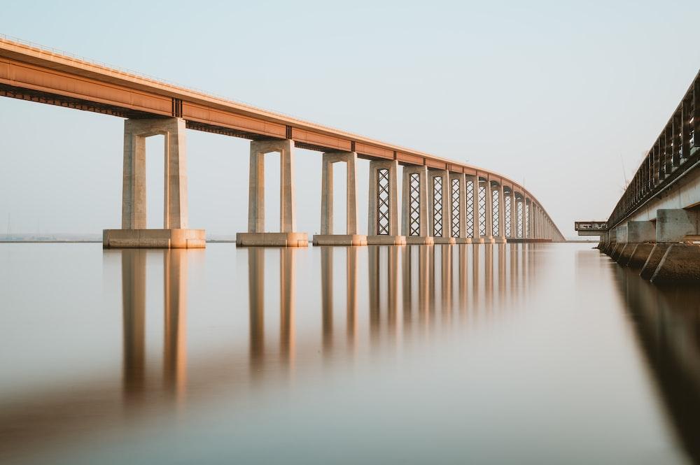brown wooden bridge over body of water
