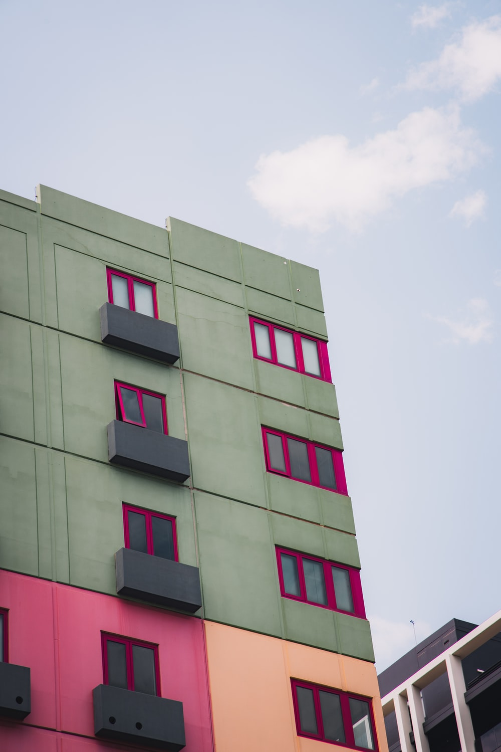 green and red concrete building