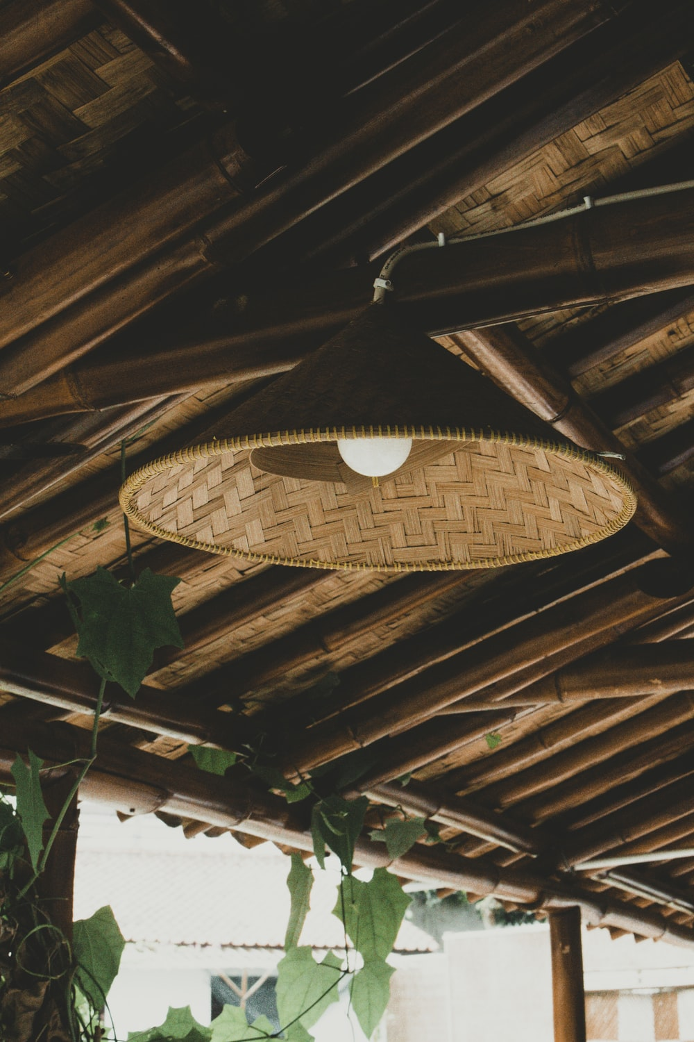 brown wicker round ceiling lamp