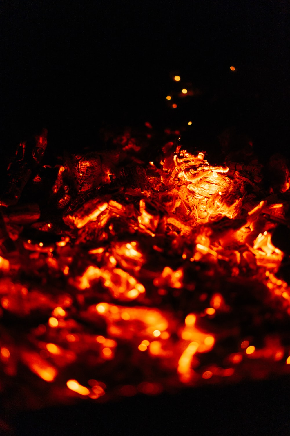 red and yellow fire in close up photography