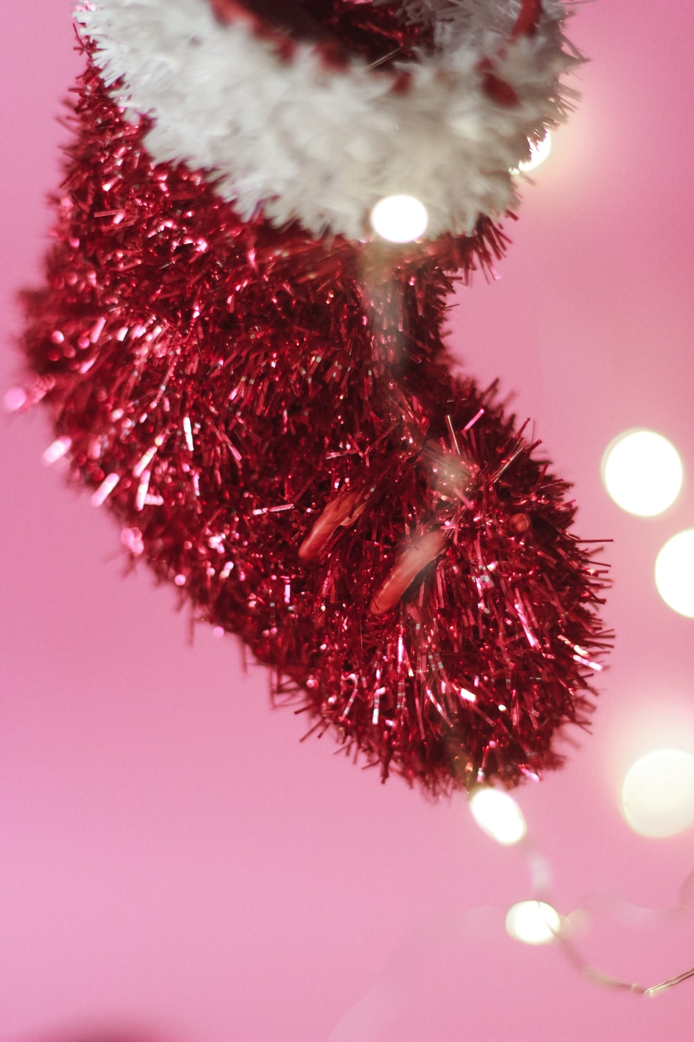 red and white fur ball ornament