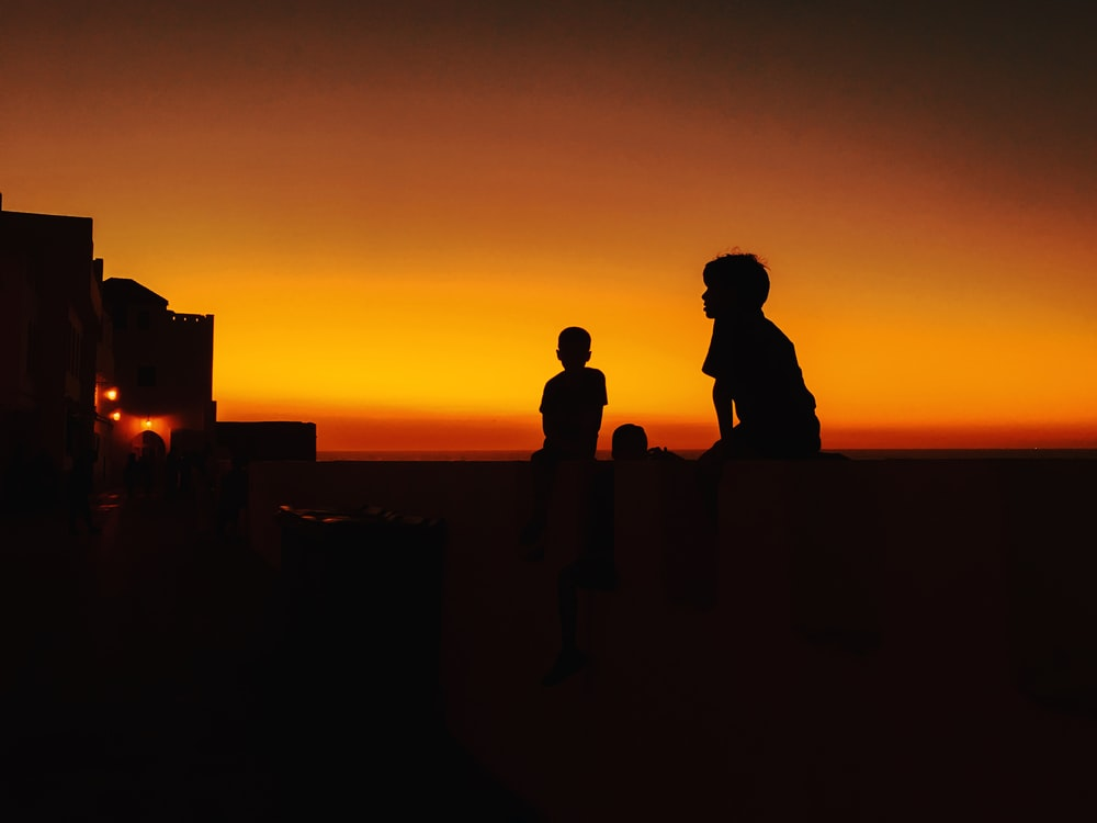 silhouette of 2 person standing on rock during sunset