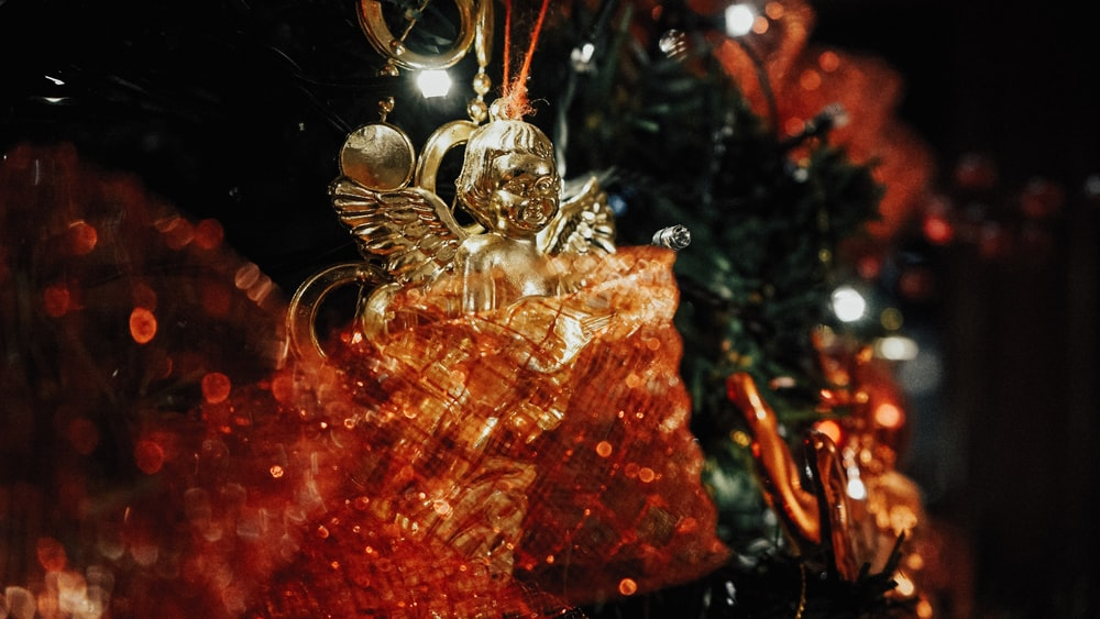 gold and red christmas baubles