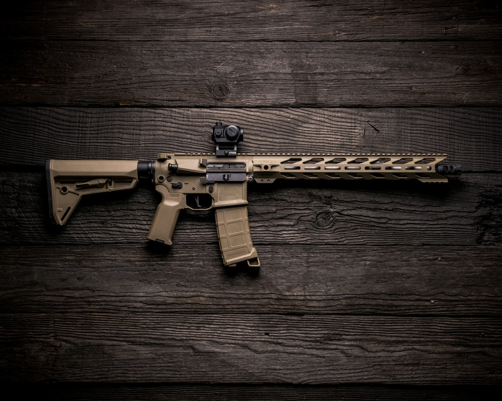 black and brown assault rifle