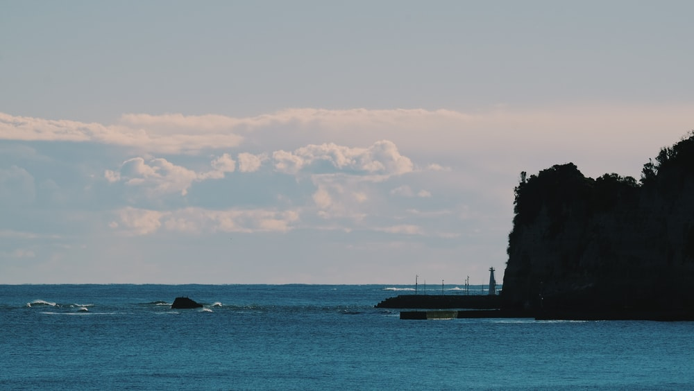 silhouette of trees on island during daytime