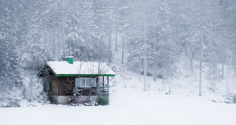 green wooden house on snow covered ground