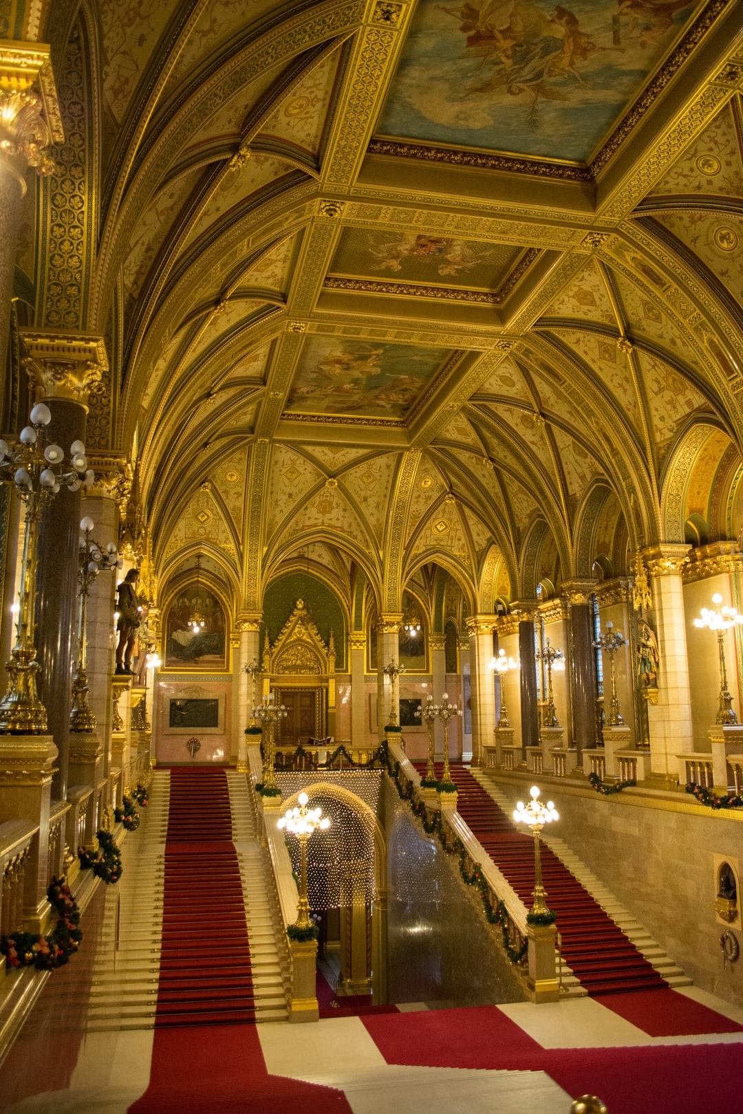 The golden staircase in the Hungarian parliament building in Budapest. This staircase is actually the main staircase of the 268m long building located right at the Danube.