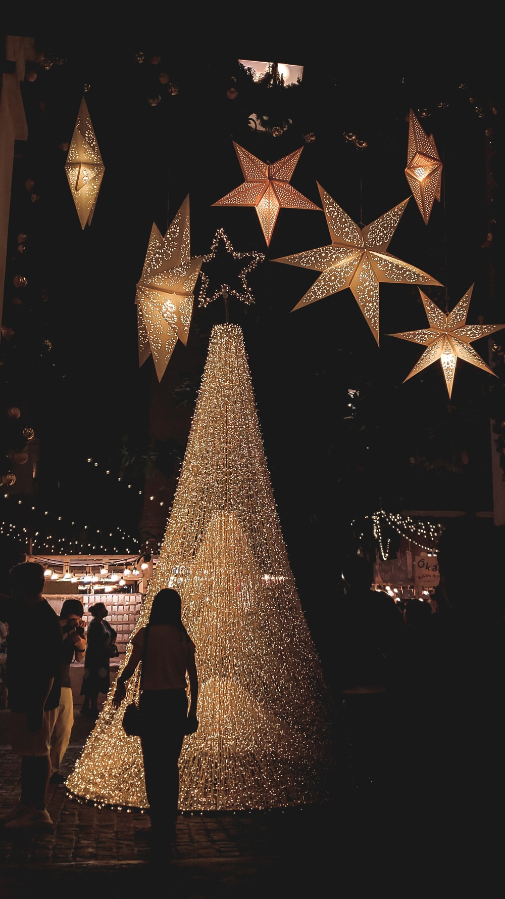 people standing near lighted christmas tree during night time