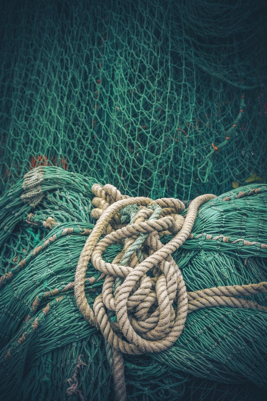 brown rope on green net
