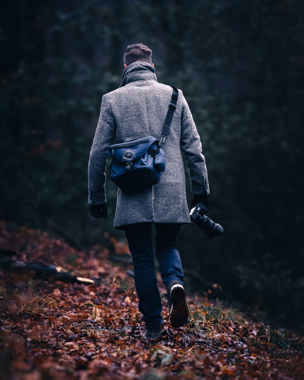 person in gray hoodie and blue denim jeans walking on forest during daytime