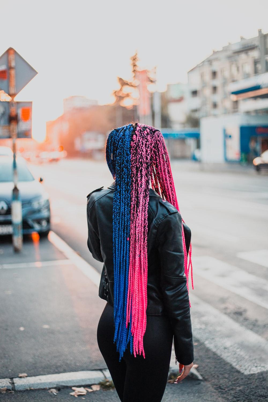 blue scarf on black coat