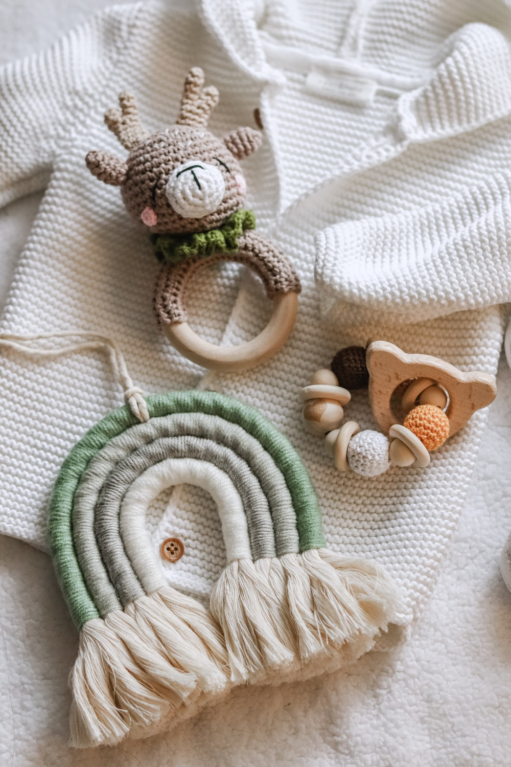 white and green knit rope