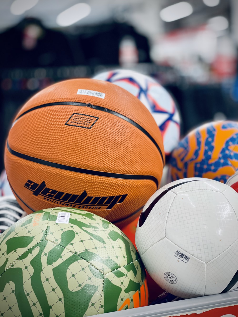 orange and white basketball ball