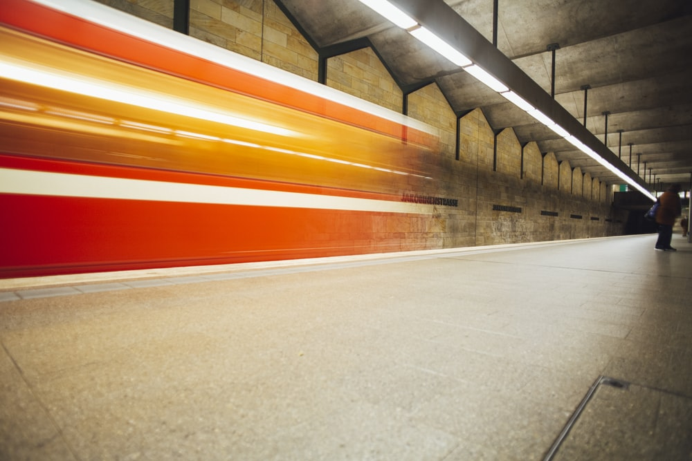 red and yellow train station