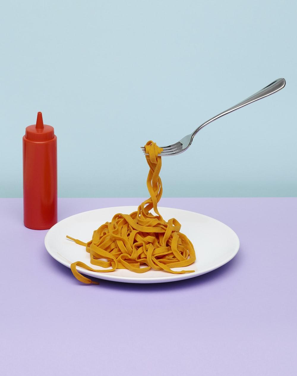 pasta on white ceramic plate