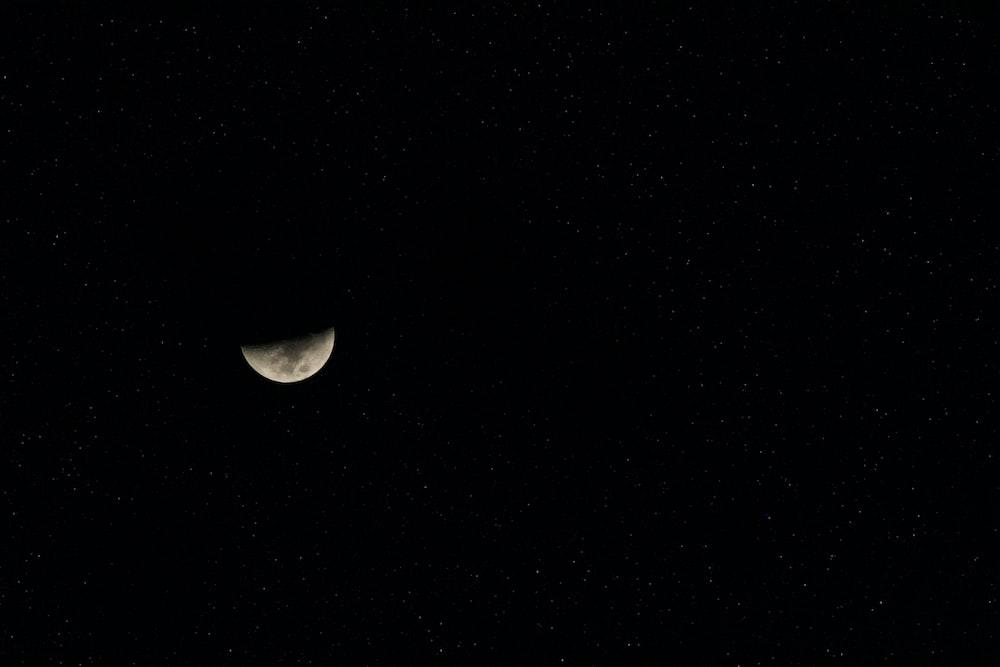 black and white half moon