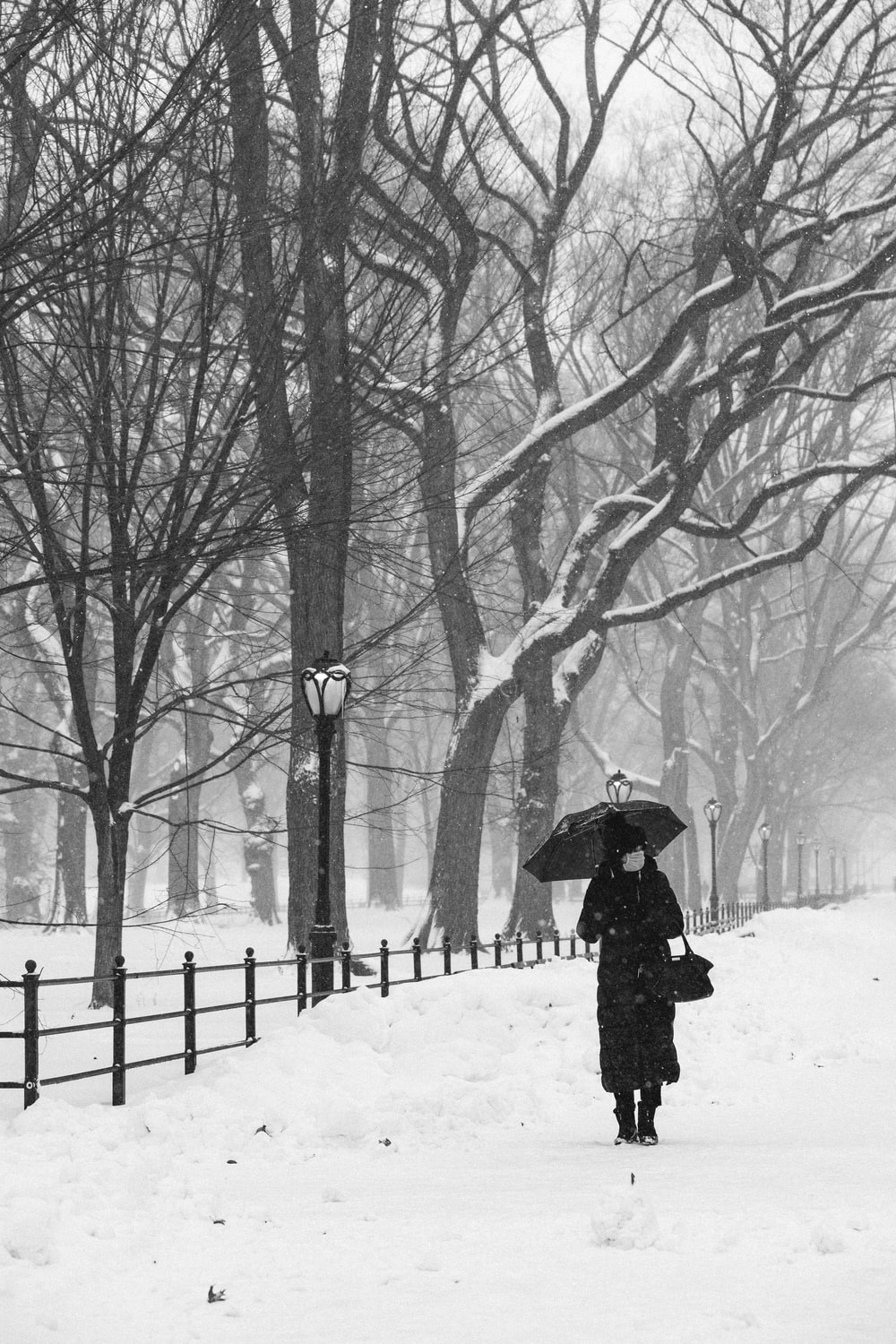 person in black coat holding umbrella walking on snow covered ground