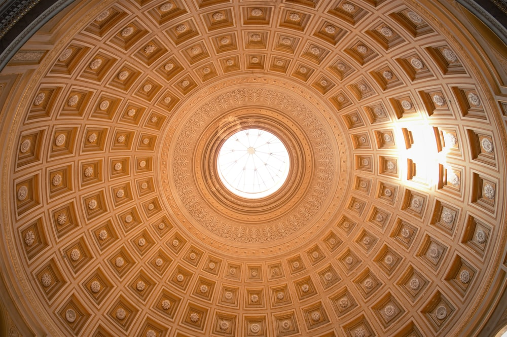 brown and white dome ceiling