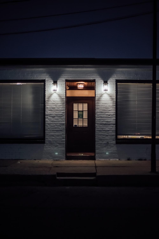 white and gray garage door
