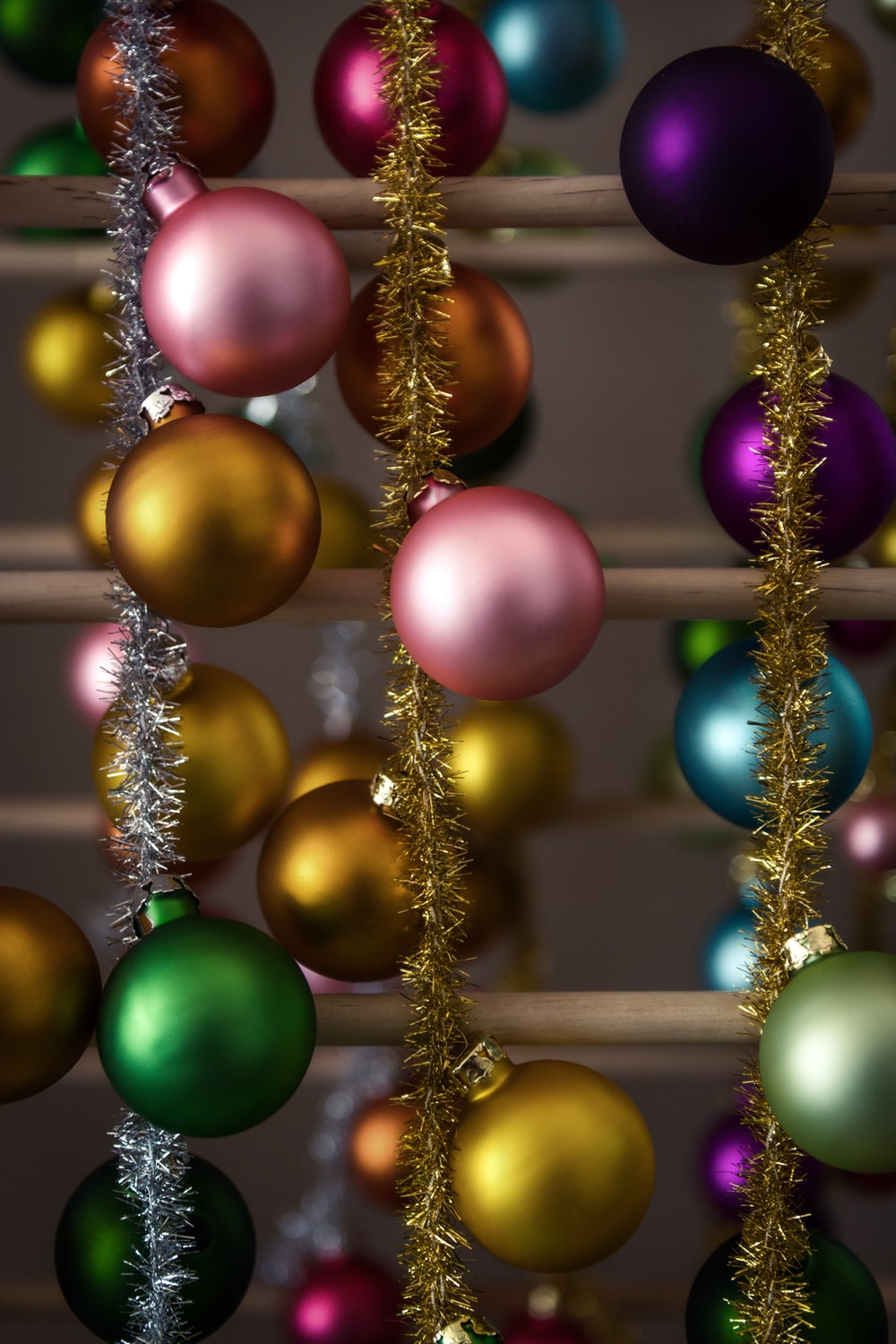 red blue green and yellow baubles