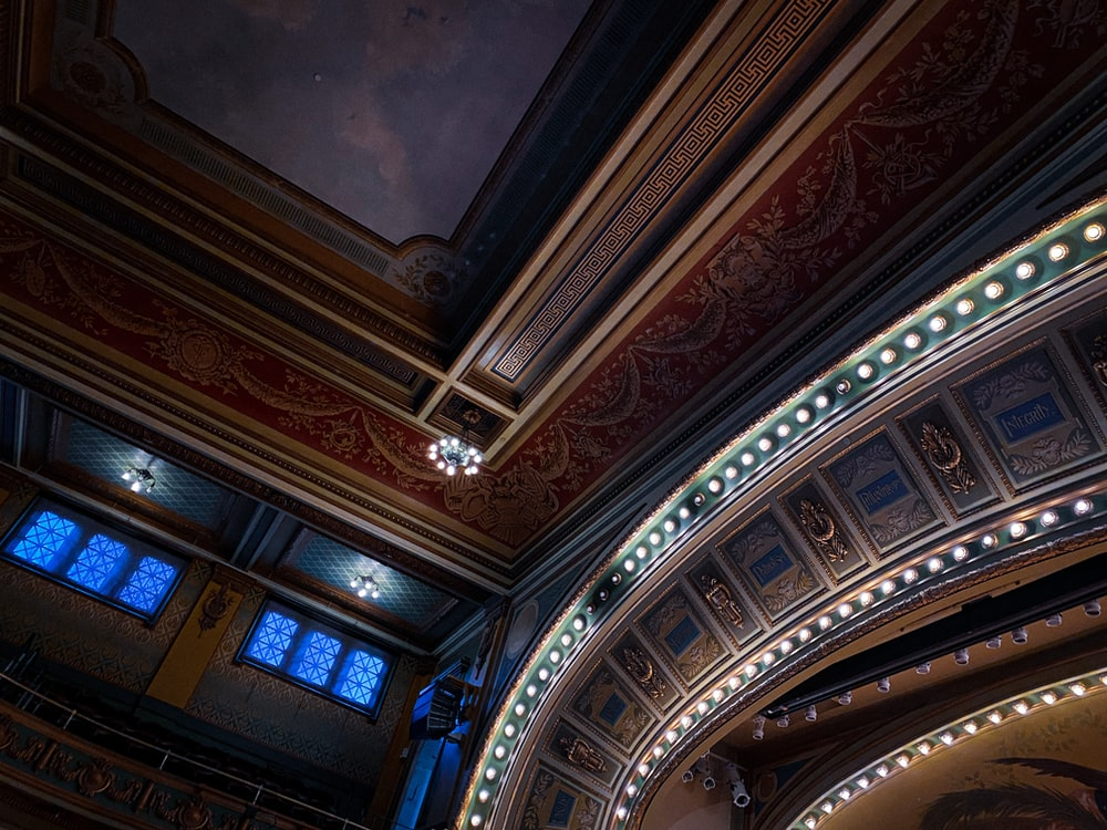 brown and white ceiling with ceiling lights
