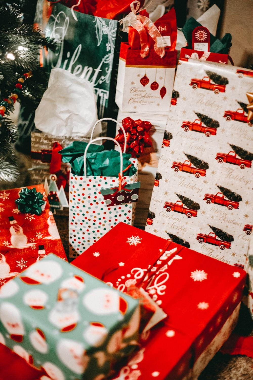 red and white christmas gift bag