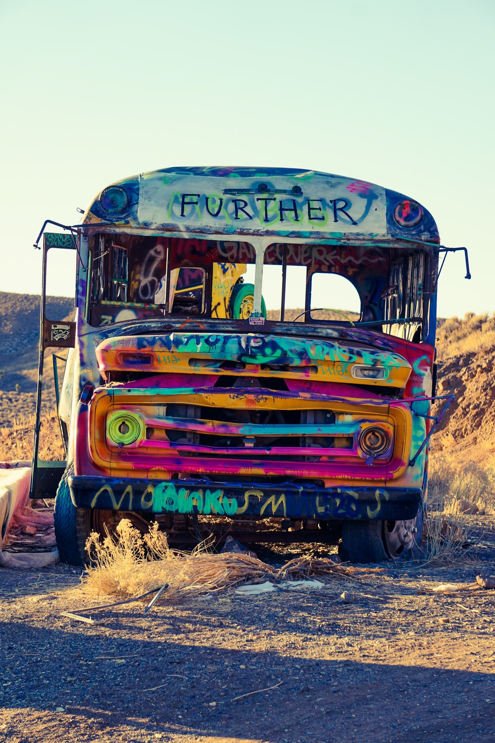 blue yellow and red bus
