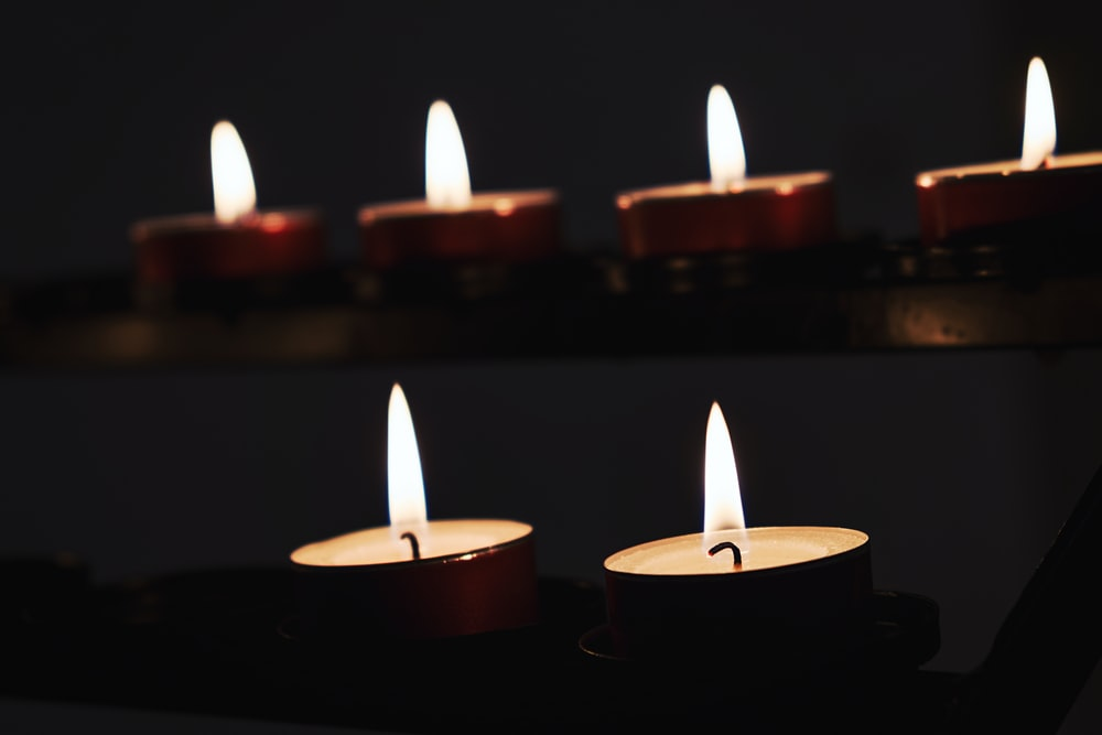 red candles with white candles