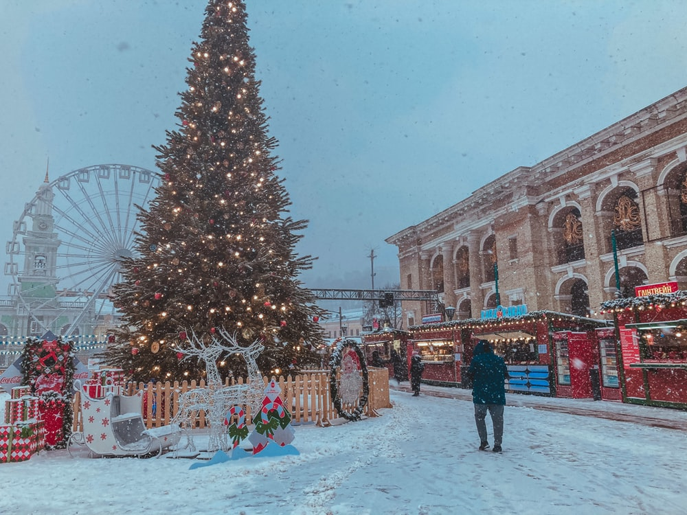 people walking on snow covered ground near christmas tree during daytime